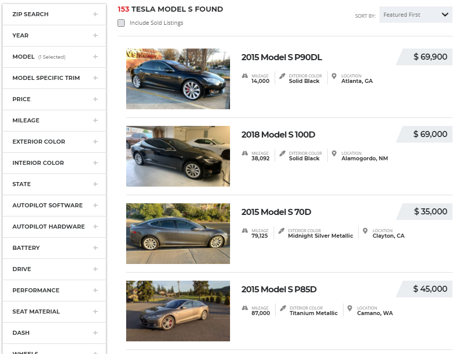 Find My Electric Model S Listings
