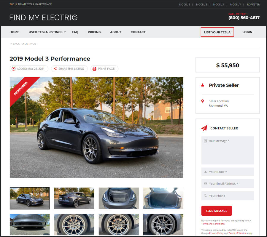 Find My Electric Model 3 Listing