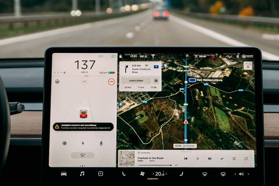 Tesla Autopilot Driving Road