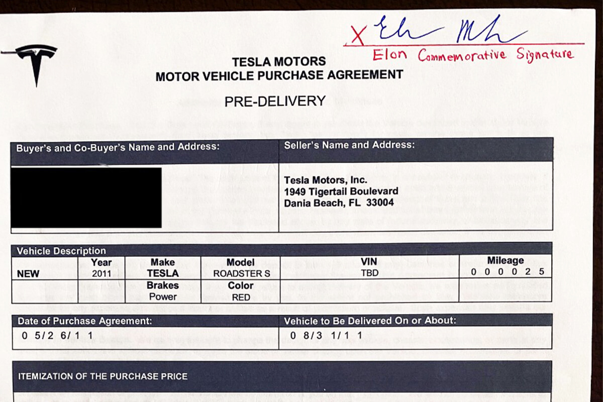 Tesla Motors Vehicle Purchase Agreement Elon Commemorative Signature